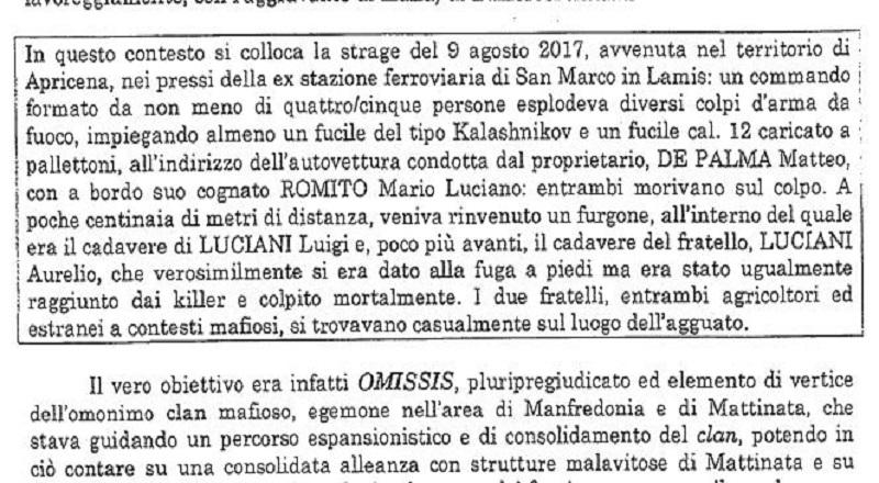 """Manfredonia, """"Comune infiltrato e condizionato"""". Citato l'omicidio dei fratelli Luciani. - San Marco in Lamis"""
